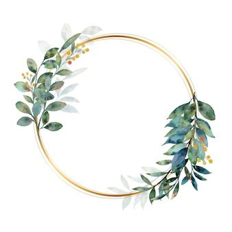 Guirlanda de folhas verdes em aquarela com círculo dourado