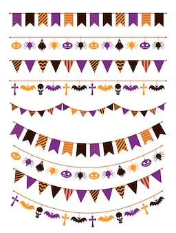 Guirlanda de halloween. bandeirinhas festivas com abóboras, aranhas e caveiras para convites de cartões comemorativos, conjunto assustador de sinal de corda com decoração de bandeiras coloridas