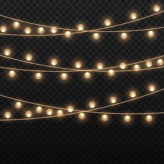 Guirlanda de lâmpadas douradas luzes brilhantes para o feriado de natal