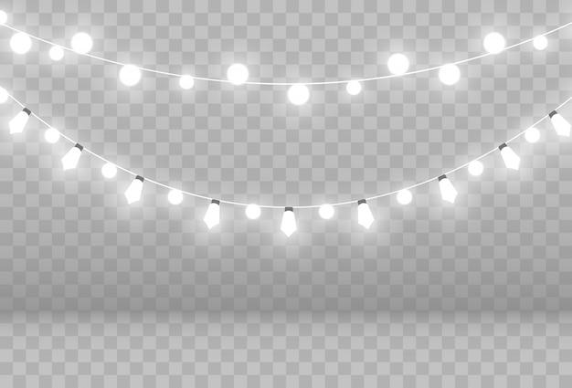 Guirlanda de luz sobre um fundo transparente.