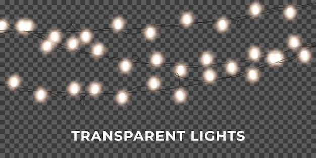 Guirlanda de luzes de corda. luzes brilhantes de natal realistas