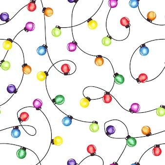 Guirlanda de luzes de festa de natal em aquarela. padrão sem emenda colorido.