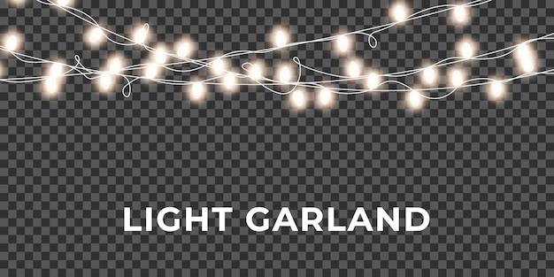 Guirlanda de luzes de natal. luzes brilhantes de cordas realistas