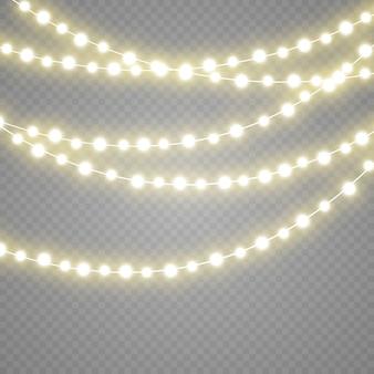 Guirlanda de luzes isoladas em fundo transparente.
