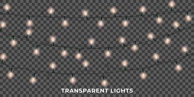 Guirlanda de luzes. luzes brilhantes de natal realistas