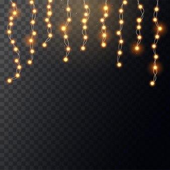 Guirlanda de natal amarela brilhante em fundo transparente. decoração para festa ou festa de aniversário