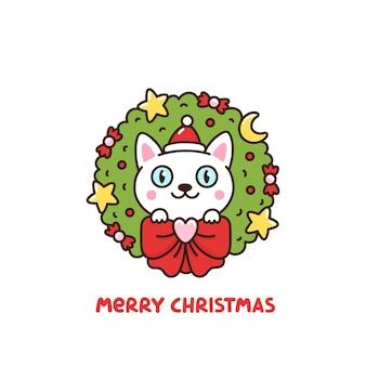 Guirlanda de natal com desenho de gato decorado com estrelas lua arco e doces