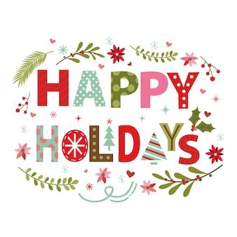 Guirlanda de natal com design de tipografia de feliz feriado