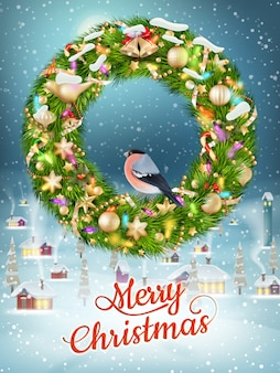 Guirlanda de natal com enfeites. cartão de feliz natal