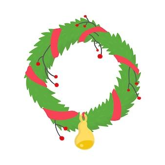Guirlanda de natal com fita e sino férias de inverno decoração ilustração vetorial estilo simples dos desenhos animados