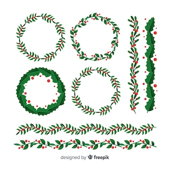 Guirlanda de natal com galhos verdes e pinhas