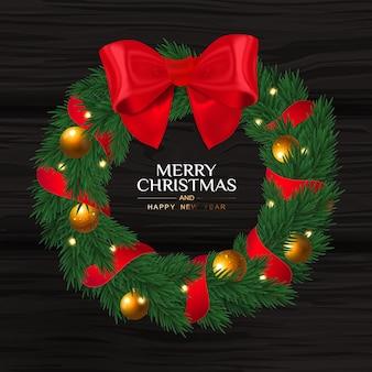 Guirlanda de natal com laço vermelho. feliz natal.