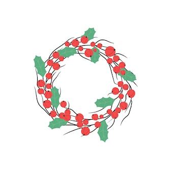 Guirlanda de natal com ramos de frutas vermelhas e folhas de azevinho. decoração festiva de ano novo