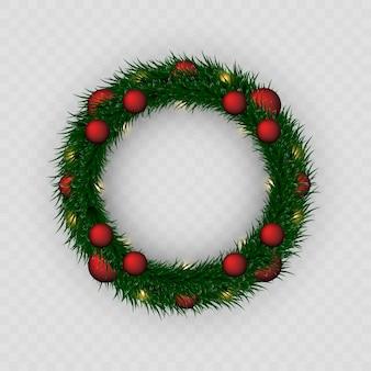 Guirlanda de natal. coroa de flores png. festão. natal. celebração. fundo xadrez.