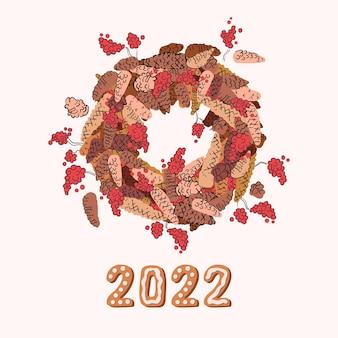 Guirlanda de natal de cones e frutas. decoração para o ano novo. ilustração desenhada à mão