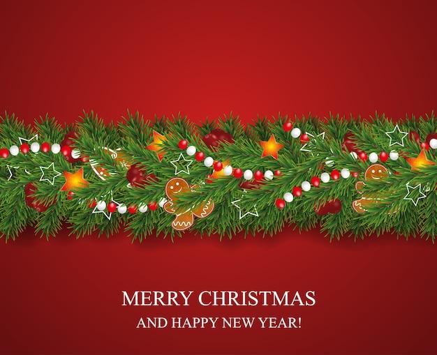Guirlanda de natal e feliz ano novo e borda de galhos de árvores de natal de aparência realista decorados com bagas, estrelas e biscoitos de gengibre, grânulos.