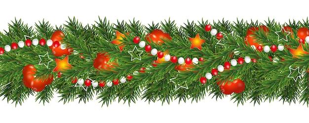 Guirlanda de natal e feliz ano novo e borda de galhos de árvores de natal decoradas com azevinho, bagas, estrelas e miçangas.