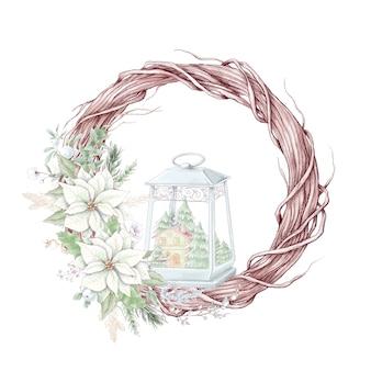 Guirlanda de natal em aquarela com flores de poinsétia