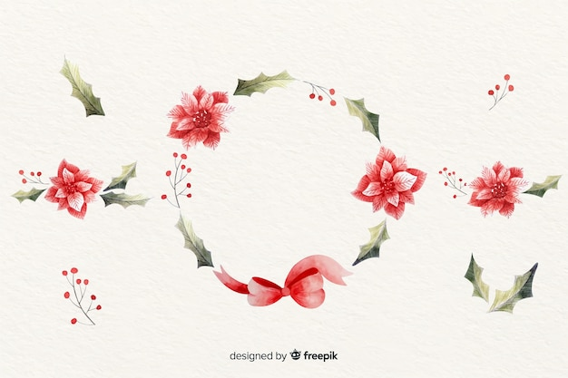 Guirlanda de natal floral em design aquarela