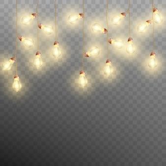 Guirlanda de natal luzes em fundo transparente. decoração de natal. e também inclui