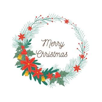 Guirlanda de natal plana e texto de saudações de feliz natal