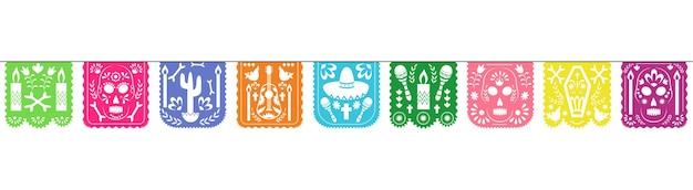 Guirlanda de papel picado colorido para a celebração do feriado do dia de los muertos