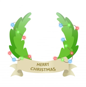 Guirlanda de porta do feriado de natal com festão. muitas felicidades. ilustração colorida. sobre fundo branco.