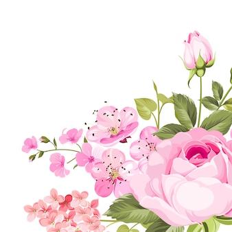Guirlanda de rosa florescendo.