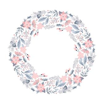 Guirlanda de vetor de natal com flores cor de rosa