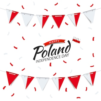 Guirlanda do dia da independência da polônia com a bandeira