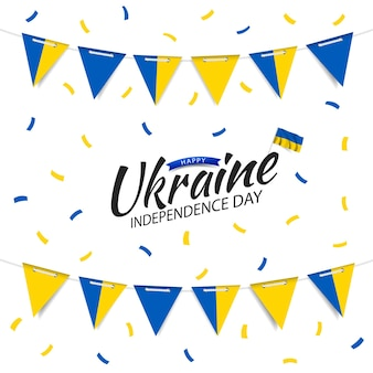Guirlanda do dia da independência da ucrânia com a bandeira da ucrânia