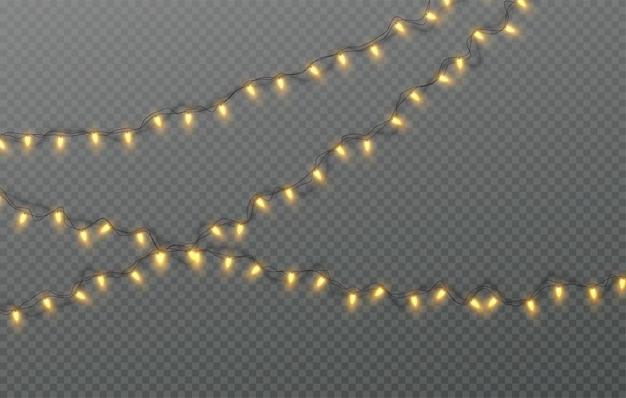 Guirlanda elétrica de natal de lâmpadas isoladas em um fundo transparente. ilustração vetorial eps10