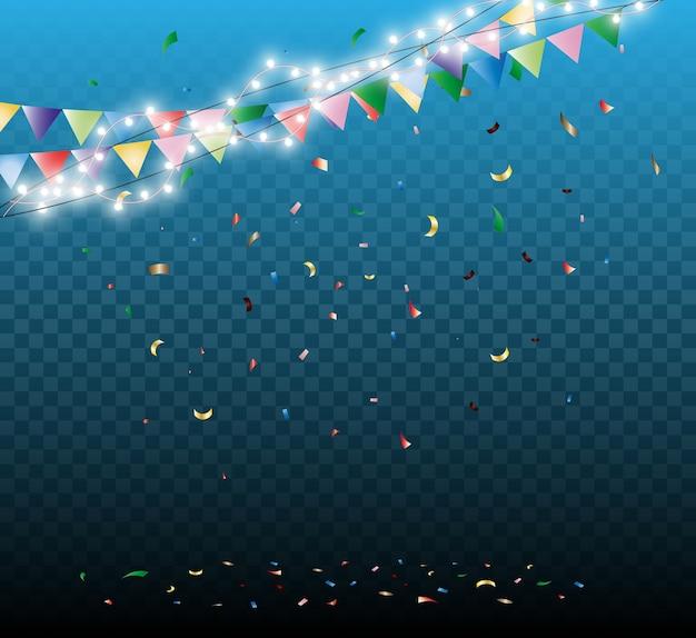 Guirlanda festiva com confete caindo