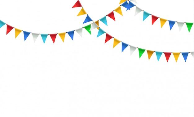 Guirlanda festiva de bandeiras coloridas triangulares e aveia.