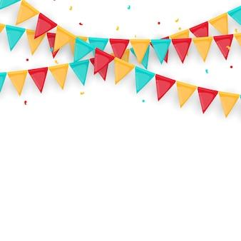 Guirlanda festiva de bandeiras e confetes