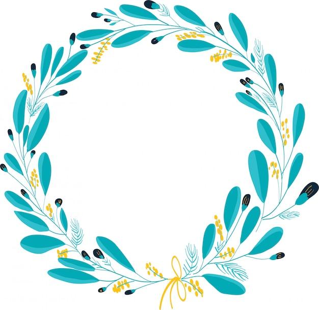 Guirlanda floral azul para cartões