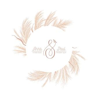 Guirlanda floral com aquarela grama de pampas seca, borda dourada da planta do outono. ilustração em vetor verão boho botânica banner. convite de casamento moderno, cartão moderno, design de luxo