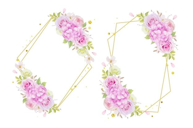 Guirlanda floral com aquarela rosas cor de rosa e flor de hortênsia azul