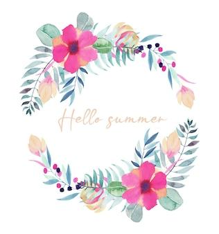 Guirlanda floral com citação: olá verão