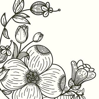 Guirlanda floral com folhas e ilustração vetorial de flor - vetor