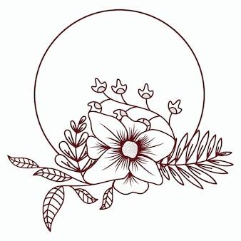 Guirlanda floral com folhas e ilustração vetorial de flor