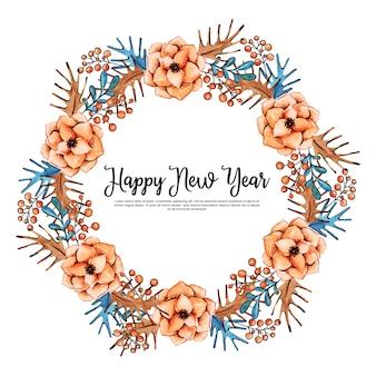Guirlanda floral de ano novo lindo aquarela