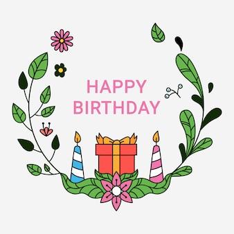 Guirlanda floral de crianças aniversário cartão mão desenhada