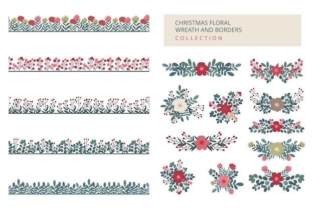 Guirlanda floral de natal e coleção de bordas