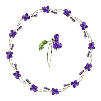 Guirlanda floral de vetor de flores violetas.