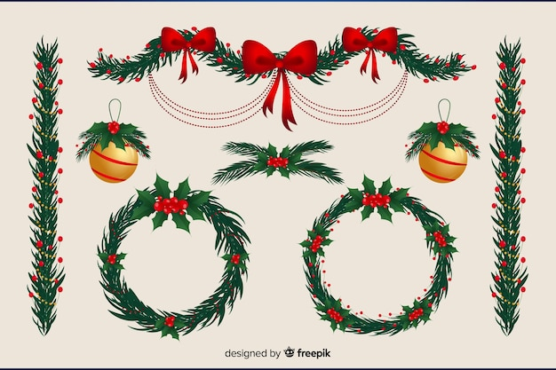 Guirlanda floral e design plano de bolas de natal