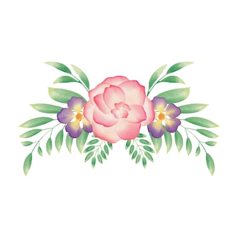 Guirlanda floral em aquarela colorida