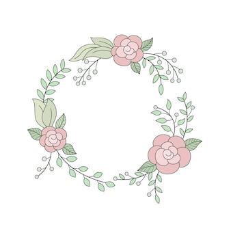 Guirlanda floral em moldura redonda