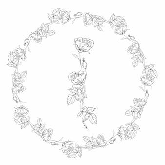 Guirlanda floral, flores rosas preto e brancas