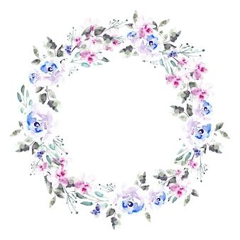 Guirlanda floral luxuriante em estilo aquarela